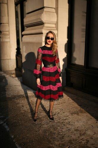 the classy cubicle blogger shoes dress belt bag sunglasses jewels gucci belt midi dress