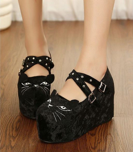 Womens lady shoes cute cat face wedge heel platform pumps jd 257