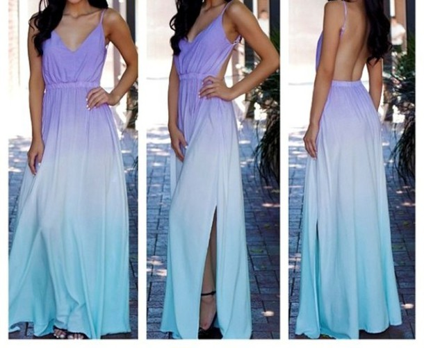 Dress Maxi Spring Fashion Summer Backless Dress Ombre Dress