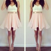dress,pink,white,gold,girl,short dress,white dress,cute,girly,gold belt,blouse,zip front,spring,summer,outfit,belted,skirt,pink skirt,love this outfit!!,shoes,black pointed flats,black shoes,swimwear,dressfo,backless,tumblr,fashion,style,dope,bikini,beach,halterneck