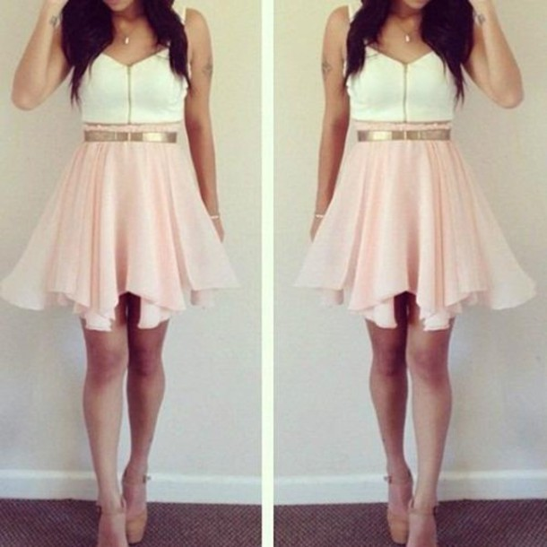 1136c601ec dress pink white gold girl pink short dress white dress cute girly gold  belt blouse zip