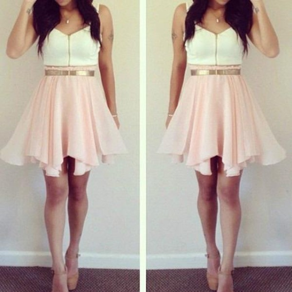 dress pink white gold girl pink short dress white dress cute girly gold belt blouse zip front spring summer outfit belted skirt pink skirt love this outfit!! shoes black pointed flats black shoes swimwear dressfo backless tumblr fashion style dope bikini beach halterneck