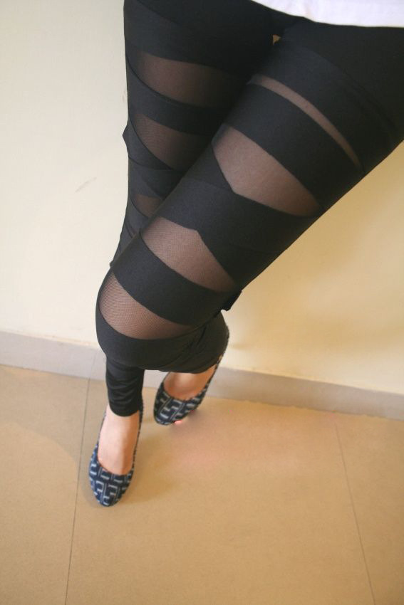 Sexy Black Cross Straps Mesh Pencil Skinny Sheer Leggings Pants P01 | eBay