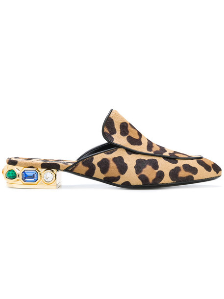 hair women mules leather print brown leopard print shoes