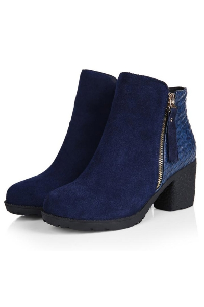 Paneled Faux Suede Ankle Boots - OASAP.com