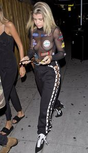 pants,sofia richie,streetstyle,pumps,top,mesh top,see through,sweatpants