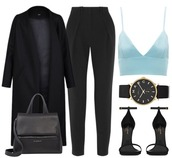 pants,marc jacobs watch,leather bag,black coat,sandals,crop tops,winter outfits,tank top,bag,shoes,black watch,leather sandals,coat