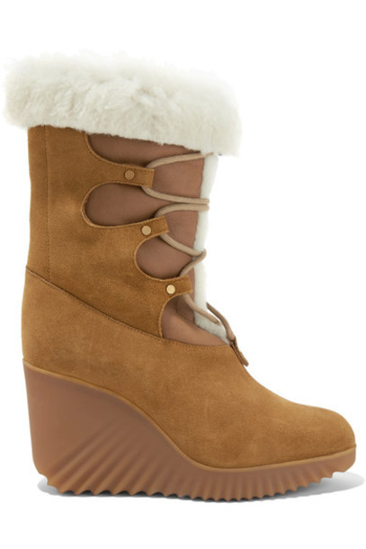 Chloe wedge boots tan boots suede shoes