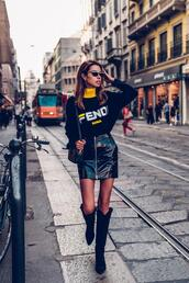 viva luxury,blogger,bag,sweater,sunglasses,shoes,skirt,fendi,zip-up skirt,fall outfits,shoulder bag,boots