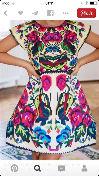 mexican multicoloured mexican dress embroidered embroidered dress