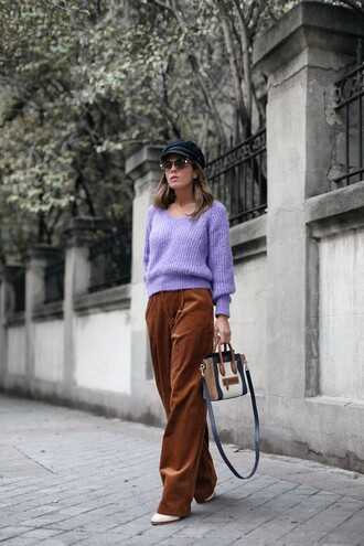 pants tumblr wide-leg pants corduroy brown pants sweater lilac knit knitwear knitted sweater hat fisherman cap sunglasses