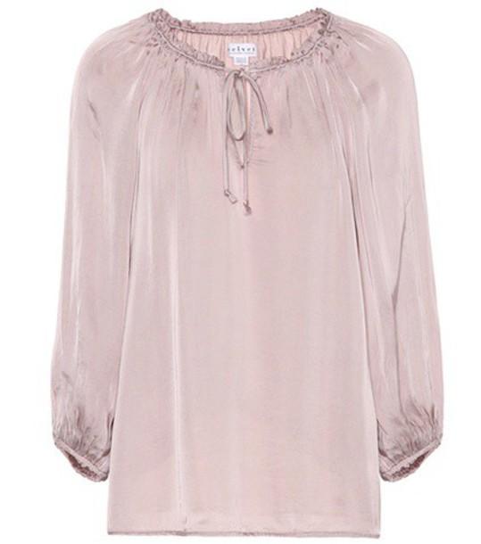 Velvet blouse pink top