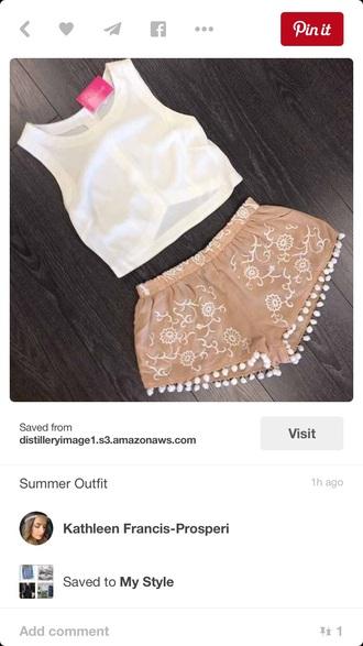 shorts white tan flowers pom pom shorts white pants white shorts flowered shorts