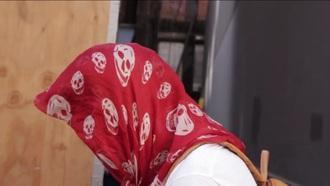 scarf red skull white