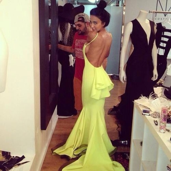 dress elegance prom dress neon yellow bow high-fashion look