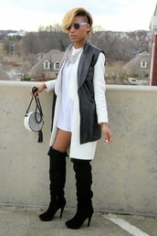 high heels,heels,black heels,black and white,blouse,blouse dress,jacket,vest,leather jacket,bag,trill,style,versace,patent leather,suade shoes,statement necklace,necklace,fashion,pea coat,blonde hair,blond hair,streetwear,streetstyle,street,church,glasses,icon,iconic,short,short dress,shirt,oversized t-shirt,yesstyle,androgynous,non-binary