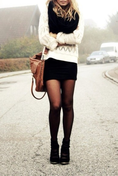 black scarf sweater infinity scarf winter sweater fall fashion fall clothes tights girly hipster sexy