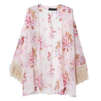 cardigan kimono roses print baby pink fringe kimono hippie chic
