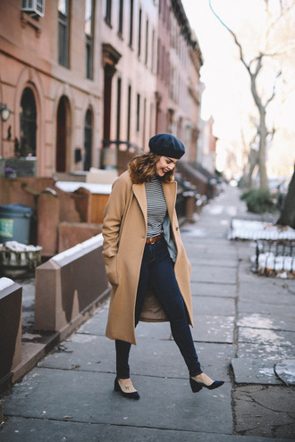 coat tumblr camel camel coat denim jeans blue jeans belt top stripes striped top hat black hat beret shoes black shoes mid heel pumps fall outfits
