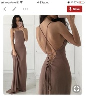 dress,mocha,tan,brown,debs,deb,formal,wedding,bridesmaid,wedding guest,formalwear,maxi dress,straps,lace,lace back,lace up back,pinterest,chiffon,chiffon dress,tan chiffon dress