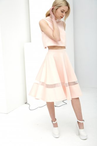 Peach Scuba Sheer Insert Volume Midi Skirt -  from Lavish Alice UK