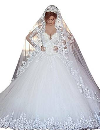 Lovelybride Gorgeous Appliques Long Sleeve Lace Wedding Dress Chapel Train At Amazon Womens Clothing Store