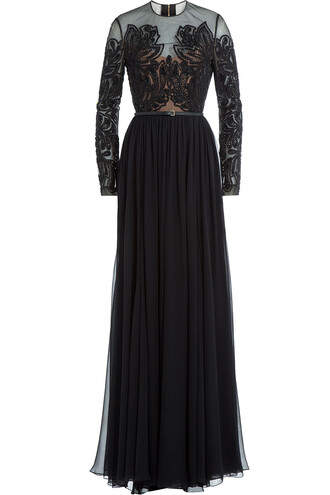 gown embellished silk black dress