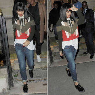 sweater rihanna fashion week 2014 jeans jewels necklace pearl