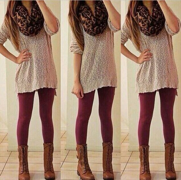 cheetah cute scarf sweater burgandy want all of it want all