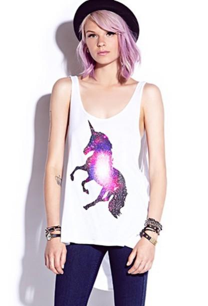 top unicorn unicorn unicorn shirt galaxy top white top