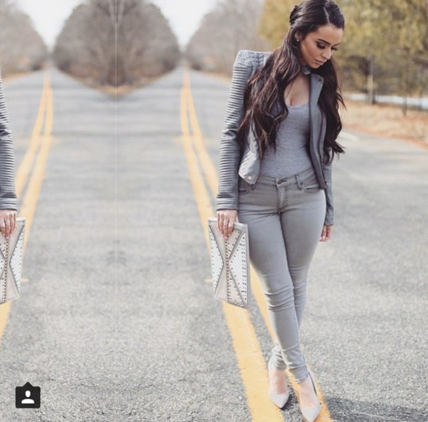 Jacket Jeans All Grey Outfit Monochrome Outfit Grey Sexy Grey T-shirt Grey Jeans Grey ...