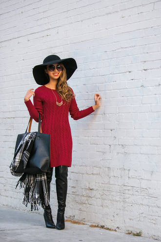 lace and locks blogger sweater dress red dress cable knit winter outfits tartan scarf necklace maxi bag sweater red