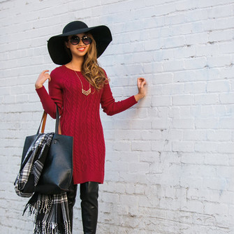 necklace red dress winter outfits blogger tartan scarf lace and locks sweater dress cable knit maxi bag scarf red