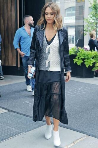dress ankle boots midi dress fashion week coat jessica alba trench coat