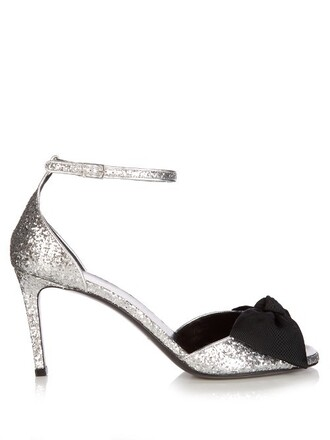 bow glitter sandals silver black shoes