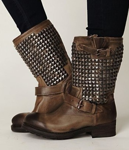Shoes: studs, boots, combat boots, brown combat boots, brown shoes ...