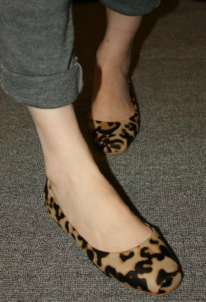 Square Toe Leopard Flat Shoes on Luulla