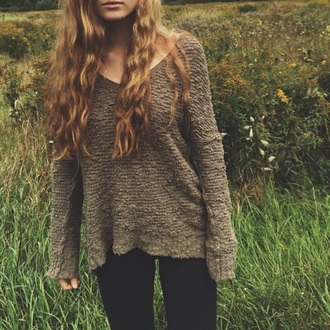 sweater brown v neck oversized sweater