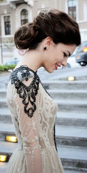 dress wedding dress black and white lace prom dress vintage royal