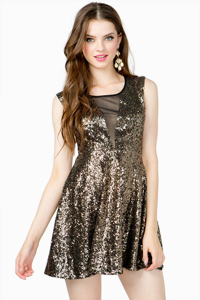 A'GACI Full Sequined Cut Out Flare Dress - DRESSES