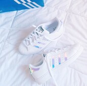 shoes,adidas superstars,adidas,holographic,holographic shoes,want these bad,adidas shoes,white shoes,cute