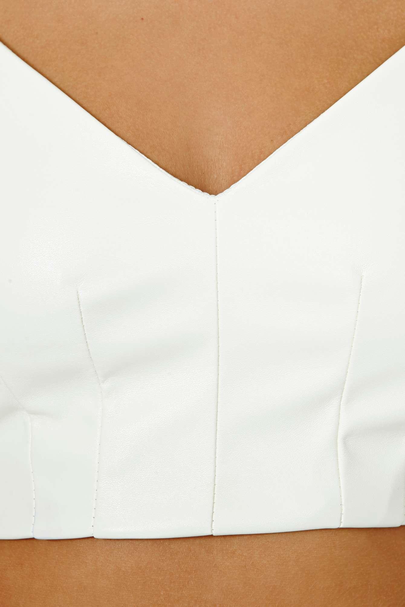 White Spaghetti Strap Faux Leather Crop Vest - Sheinside.com