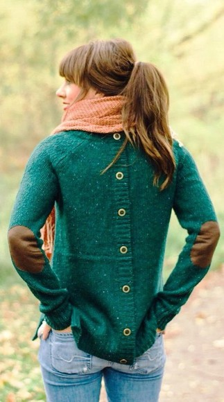 sweater green sweater shirt back button up buttons down the back green, button back, elbow patch, sweater scarf jeans