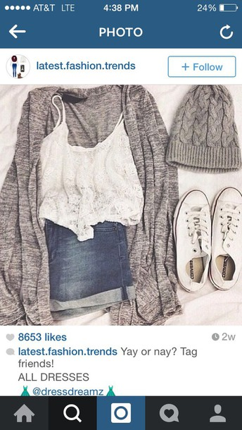 cardigan hat shirt