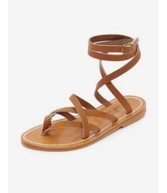 shoes flat sandals strappy flats brown