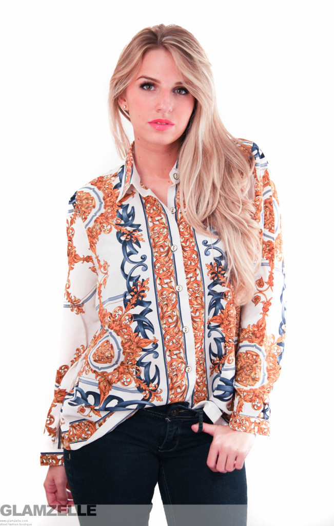 Exclusive gold leaves baroque print blouse – glamzelle