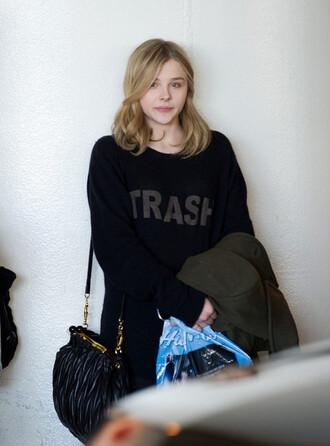 sweater black sweater chloe moretz trash musthave