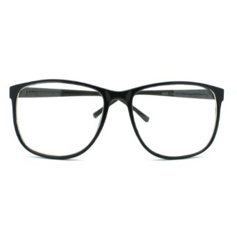 Amazon.com: Black Large Nerdy Thin Plastic Frame Clear Lens Eye Glasses Frame: Clothing