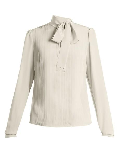 Rochas blouse pleated silk top