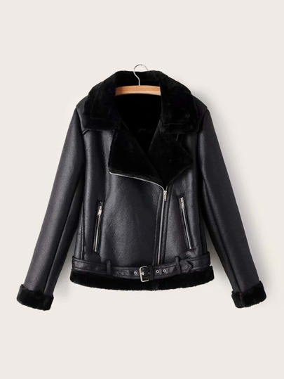 PU Leather Faux Fur Lined Belted Jacket
